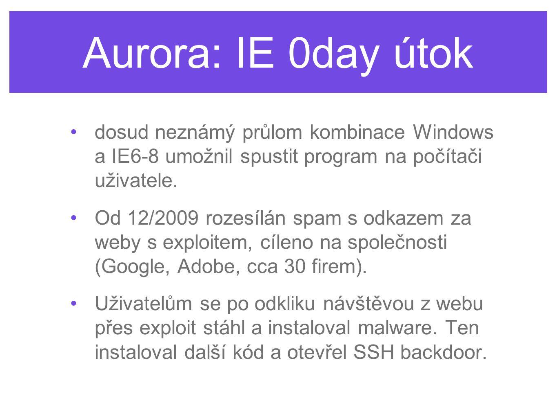 Aurora: IE 0day útok •dosud neznámý průlom kombinace Windows a IE6-8 umožnil spustit program na počítači uživatele. •Od 12/2009 rozesílán spam s odkaz
