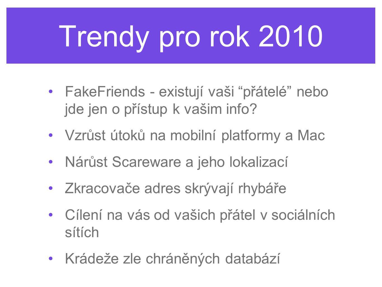 """Trendy pro rok 2010 •FakeFriends - existují vaši """"přátelé"""" nebo jde jen o přístup k vašim info? •Vzrůst útoků na mobilní platformy a Mac •Nárůst Scare"""