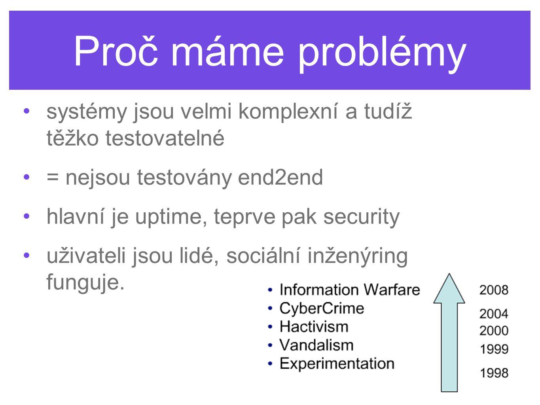 Proč máme problémy •systémy jsou velmi komplexní a tudíž těžko testovatelné •= nejsou testovány end2end •hlavní je uptime, teprve pak security •uživat