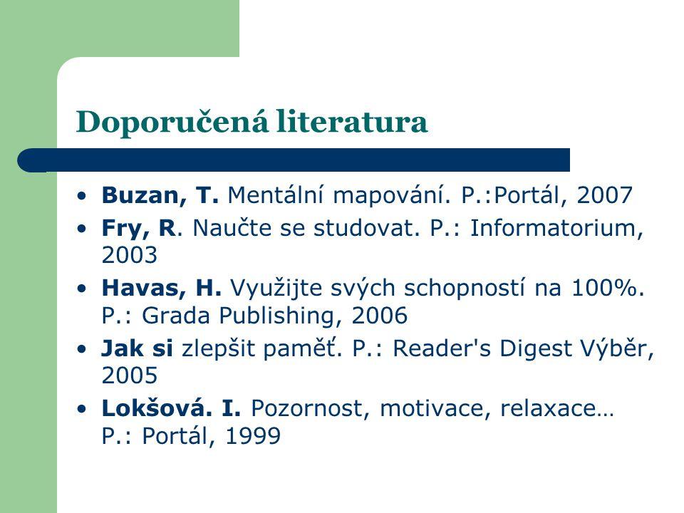 Doporučená literatura •Buzan, T. Mentální mapování. P.:Portál, 2007 •Fry, R. Naučte se studovat. P.: Informatorium, 2003 •Havas, H. Využijte svých sch
