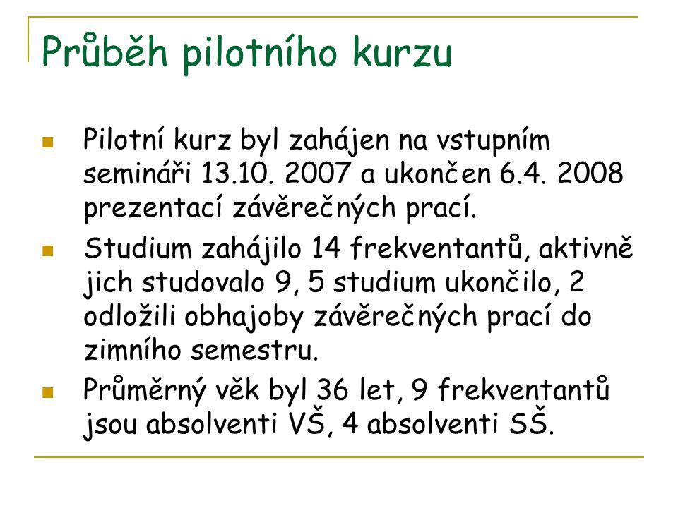Průběh pilotního kurzu  Pilotní kurz byl zahájen na vstupním semináři 13.10. 2007 a ukončen 6.4. 2008 prezentací závěrečných prací.  Studium zahájil