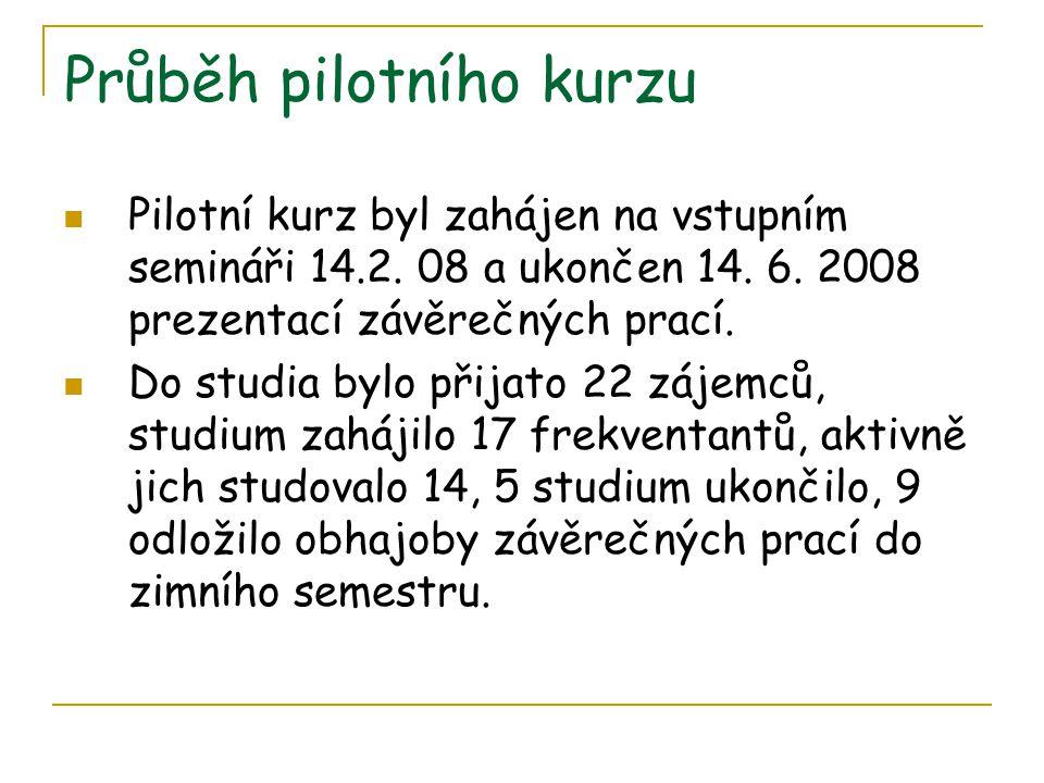 Průběh pilotního kurzu  Pilotní kurz byl zahájen na vstupním semináři 14.2. 08 a ukončen 14. 6. 2008 prezentací závěrečných prací.  Do studia bylo p