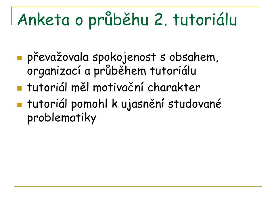 Anketa o průběhu 2. tutoriálu  převažovala spokojenost s obsahem, organizací a průběhem tutoriálu  tutoriál měl motivační charakter  tutoriál pomoh