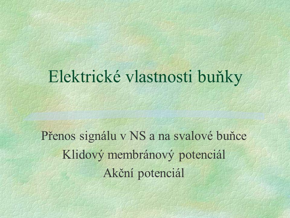 Elektrické vlastnosti buňky Přenos signálu v NS a na svalové buňce Klidový membránový potenciál Akční potenciál