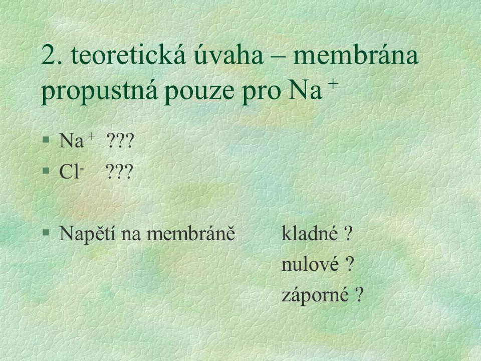 2. teoretická úvaha – membrána propustná pouze pro Na + §Na + ??? §Cl - ??? §Napětí na membráně kladné ? nulové ? záporné ?