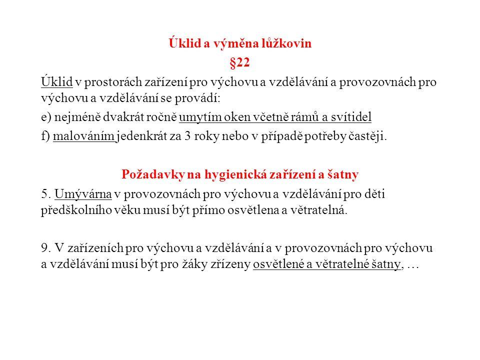 Úklid a výměna lůžkovin §22 Úklid v prostorách zařízení pro výchovu a vzdělávání a provozovnách pro výchovu a vzdělávání se provádí: e) nejméně dvakrá