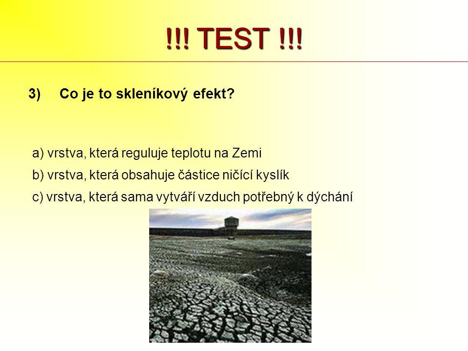 !!! TEST !!! 3)Co je to skleníkový efekt? a) vrstva, která reguluje teplotu na Zemi b) vrstva, která obsahuje částice ničící kyslík c) vrstva, která s