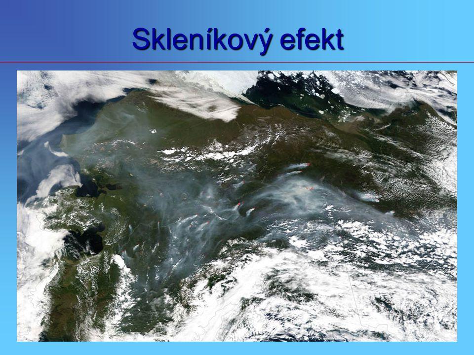 Skleníkový efekt Plyny dusík a kyslík, jež tvoří většinu atmosféry, záření ani nepohlcují, ani nevysílají. Vodní pára, oxid uhličitý a některé další p