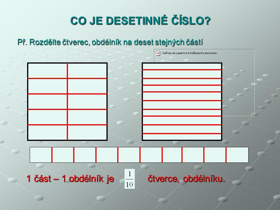 Př. Rozdělte čtverec, obdélník na deset stejných částí CO JE DESETINNÉ ČÍSLO? 1 část – 1 obdélník je čtverce, obdélníku.