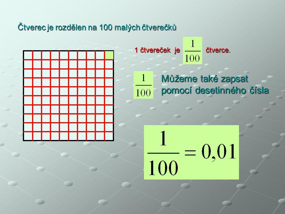Čtverec je rozdělen na 100 malých čtverečků 1 čtvereček je čtverce. Můžeme také zapsat pomocí desetinného čísla