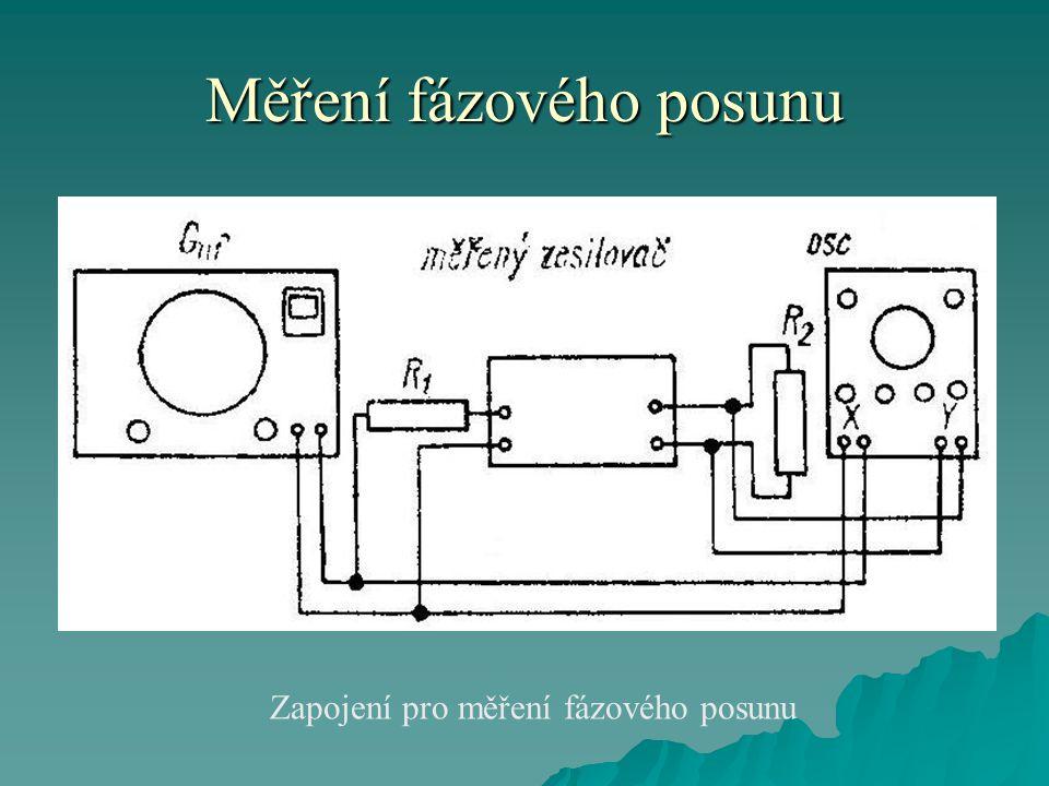Měření fázového posunu Zapojení pro měření fázového posunu