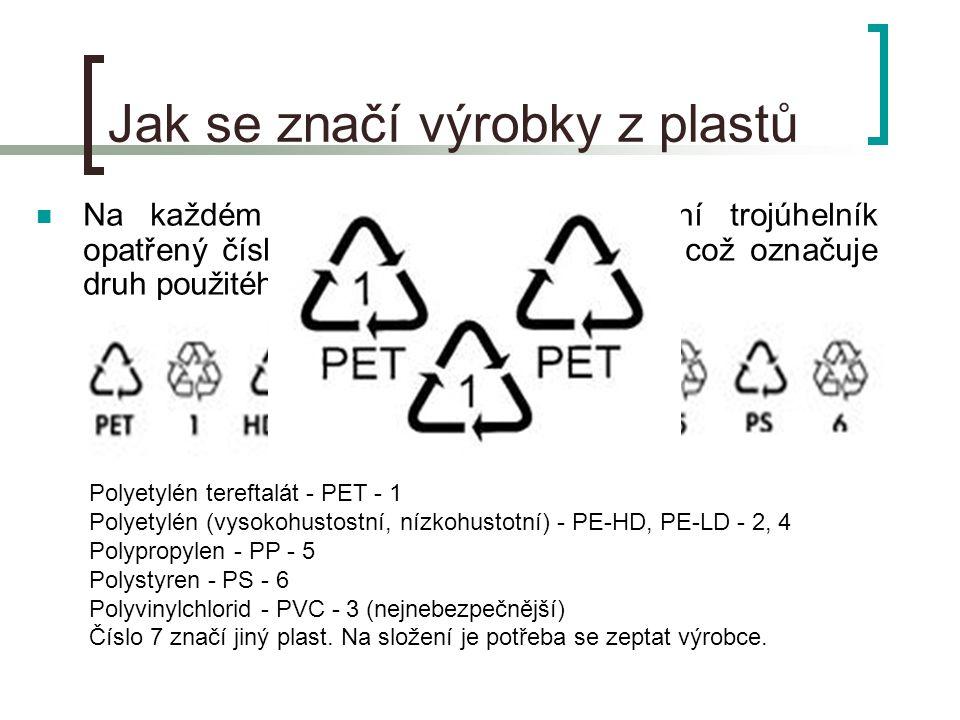 Jak se značí výrobky z plastů  Na každém obalu naleznete recyklační trojúhelník opatřený číslem nebo slovním popisem, což označuje druh použitého materiálu.