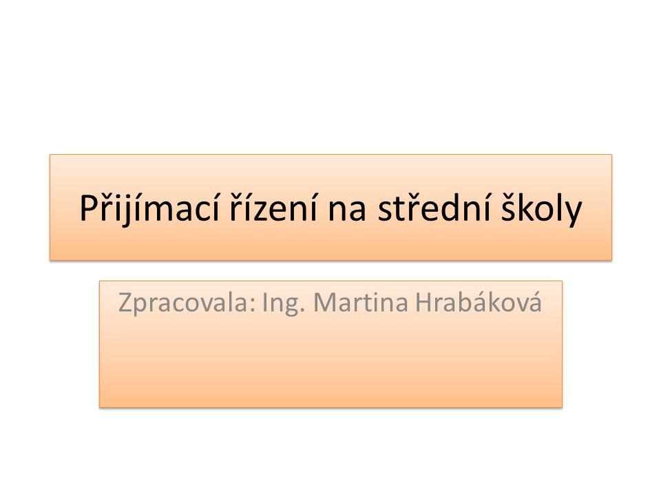 Přijímací řízení na střední školy Zpracovala: Ing. Martina Hrabáková