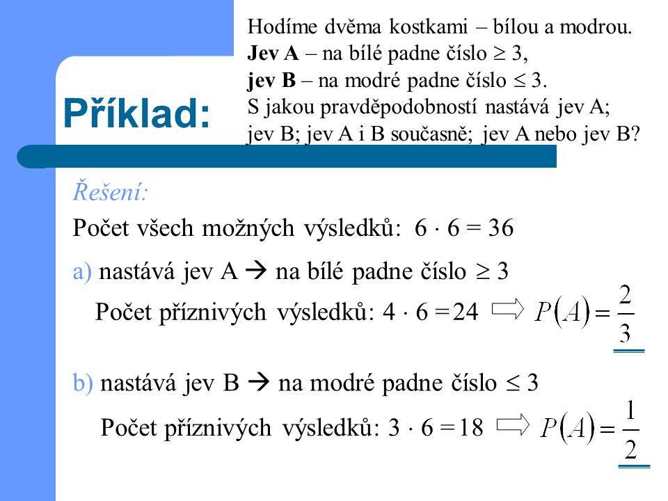 Příklad: a) nastává jev A  na bílé padne číslo  3 Hodíme dvěma kostkami – bílou a modrou. Jev A – na bílé padne číslo  3, jev B – na modré padne čí