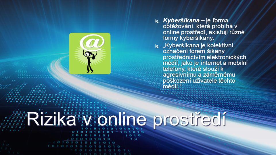 Rizika v online prostředí  – je forma obtěžování, která probíhá v online prostředí, existují různé formy kyberšikany.  Kyberšikana – je forma obtěžo