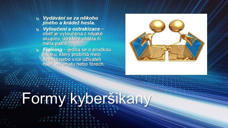 Formy kyberšikany   Vydávání se za někoho jiného a krádež hesla.  – oběť je vyloučena z nějaké skupiny, do které chtěla či měla patřit.  Vyloučení