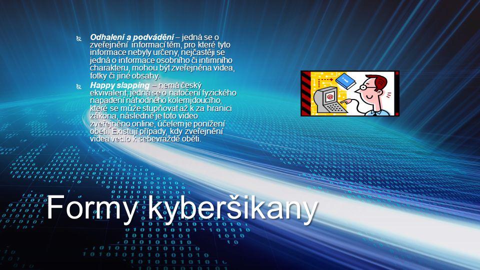 Formy kyberšikany  – jedná se o zveřejnění informací těm, pro které tyto informace nebyly určeny, nejčastěji se jedná o informace osobního či intimní