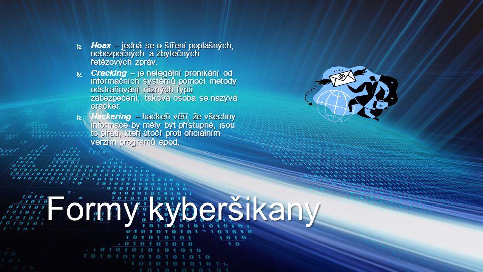 Formy kyberšikany  – jedná se o šíření poplašných, nebezpečných a zbytečných řetězových zpráv.  Hoax – jedná se o šíření poplašných, nebezpečných a