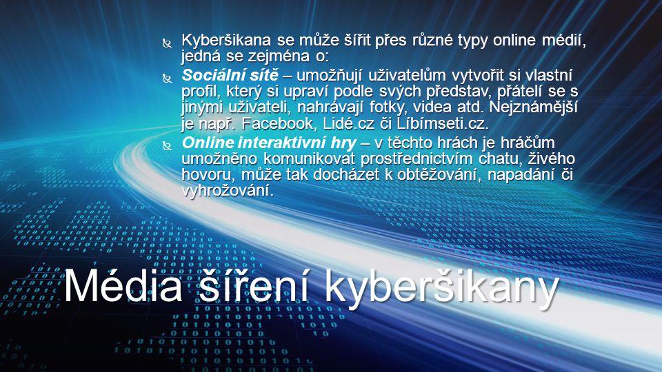  Kyberšikana se může šířit přes různé typy online médií, jedná se zejména o:  – umožňují uživatelům vytvořit si vlastní profil, který si upraví podl