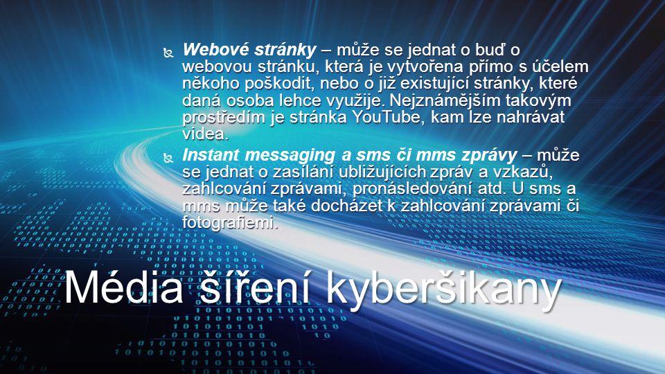  – může se jednat o buď o webovou stránku, která je vytvořena přímo s účelem někoho poškodit, nebo o již existující stránky, které daná osoba lehce v