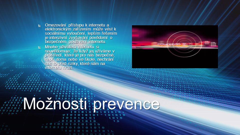 Možnosti prevence  Omezování přístupu k internetu a elektronickým zařízením může vést k sociálnímu vyloučení, lepším řešením je intenzivní zvyšování