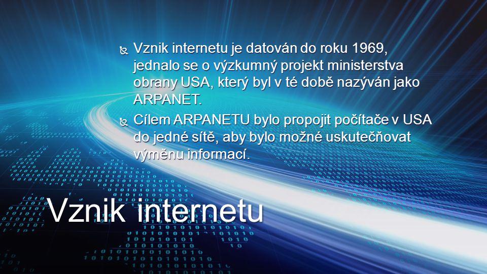  Vznik internetu je datován do roku 1969, jednalo se o výzkumný projekt ministerstva obrany USA, který byl v té době nazýván jako ARPANET.  Cílem AR