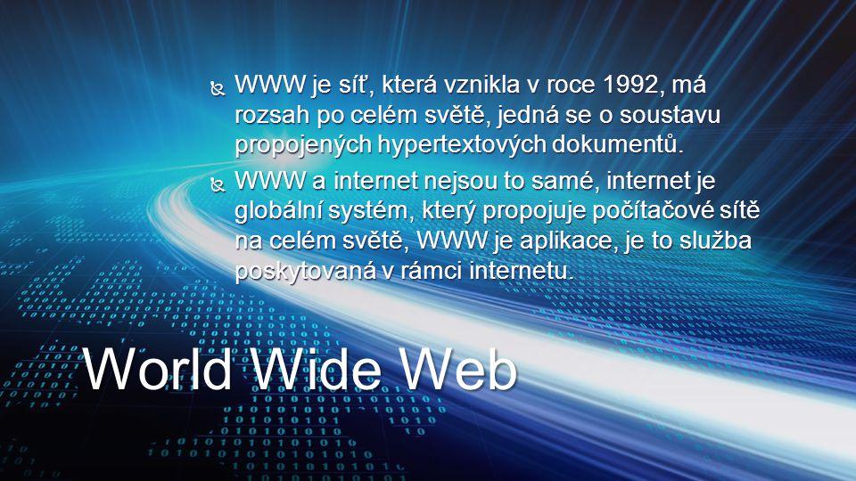  WWW je síť, která vznikla v roce 1992, má rozsah po celém světě, jedná se o soustavu propojených hypertextových dokumentů.  WWW a internet nejsou t