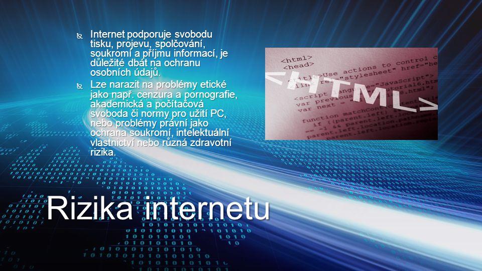 Rizika internetu  Internet podporuje svobodu tisku, projevu, spolčování, soukromí a příjmu informací, je důležité dbát na ochranu osobních údajů.  L