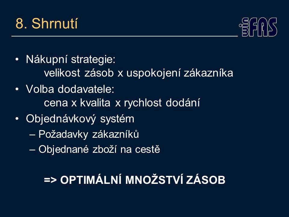 8. Shrnutí •Nákupní strategie: velikost zásob x uspokojení zákazníka •Volba dodavatele: cena x kvalita x rychlost dodání •Objednávkový systém –Požadav