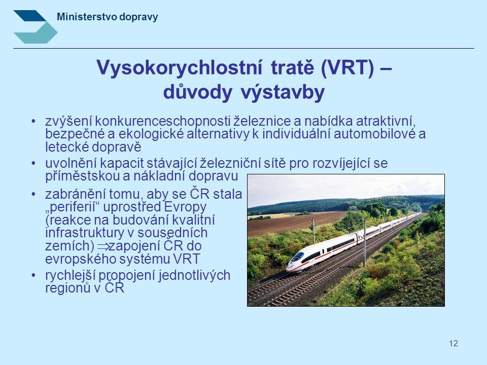 """Ministerstvo dopravy 12 Vysokorychlostní tratě (VRT) – důvody výstavby •zabránění tomu, aby se ČR stala """"periferií"""" uprostřed Evropy (reakce na budová"""