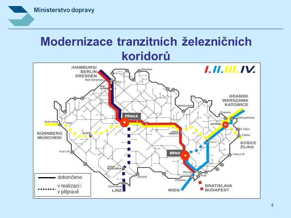 Ministerstvo dopravy 4 Modernizace tranzitních železničních koridorů dokončeno v realizaci / v přípravě