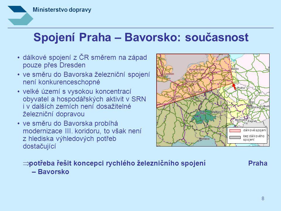 Ministerstvo dopravy 8 Spojení Praha – Bavorsko: současnost •dálkové spojení z ČR směrem na západ pouze přes Dresden •ve směru do Bavorska železniční