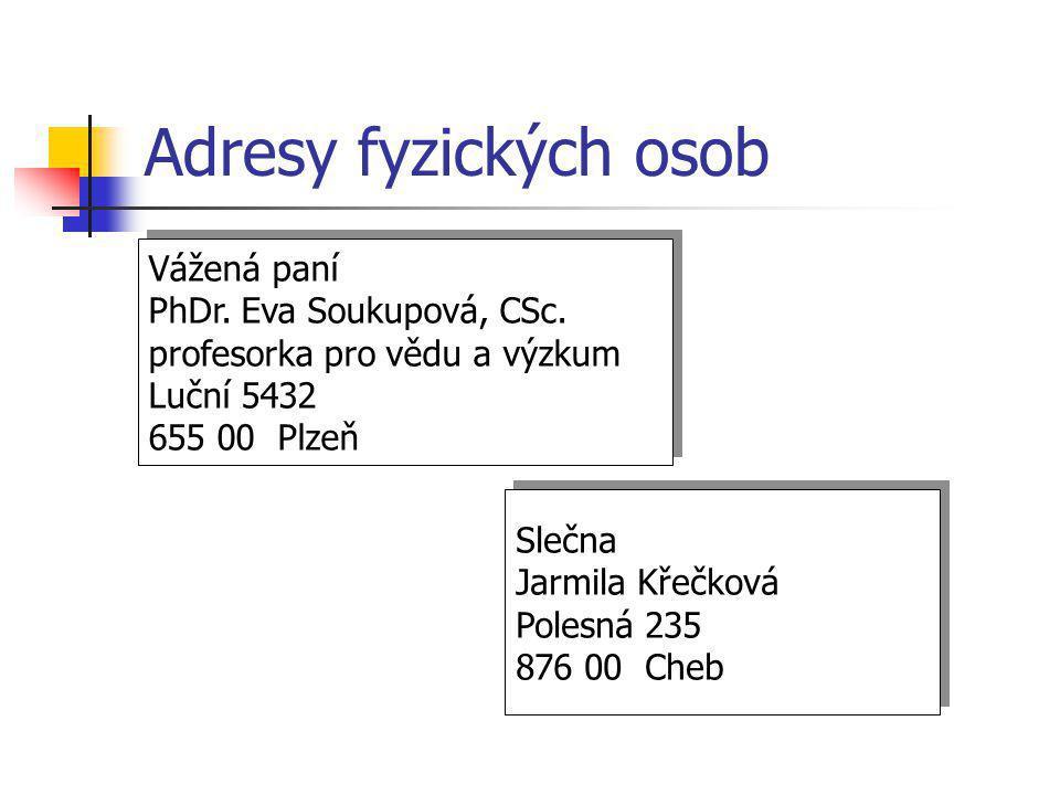 Adresy fyzických osob Vážená paní PhDr. Eva Soukupová, CSc. profesorka pro vědu a výzkum Luční 5432 655 00 Plzeň Vážená paní PhDr. Eva Soukupová, CSc.