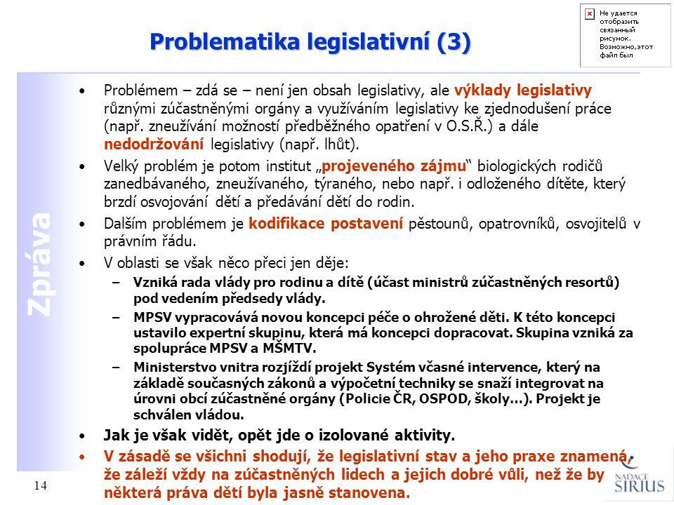 Zpráva 14 Problematika legislativní (3) •Problémem – zdá se – není jen obsah legislativy, ale výklady legislativy různými zúčastněnými orgány a využív