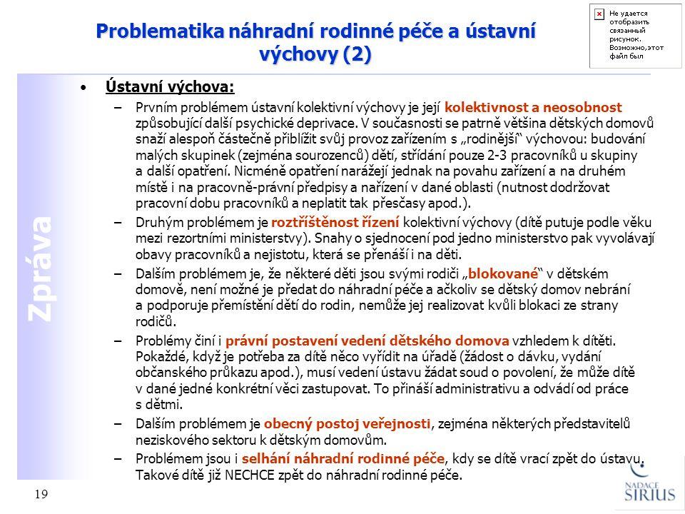Zpráva 19 Problematika náhradní rodinné péče a ústavní výchovy (2) •Ústavní výchova: –Prvním problémem ústavní kolektivní výchovy je její kolektivnost