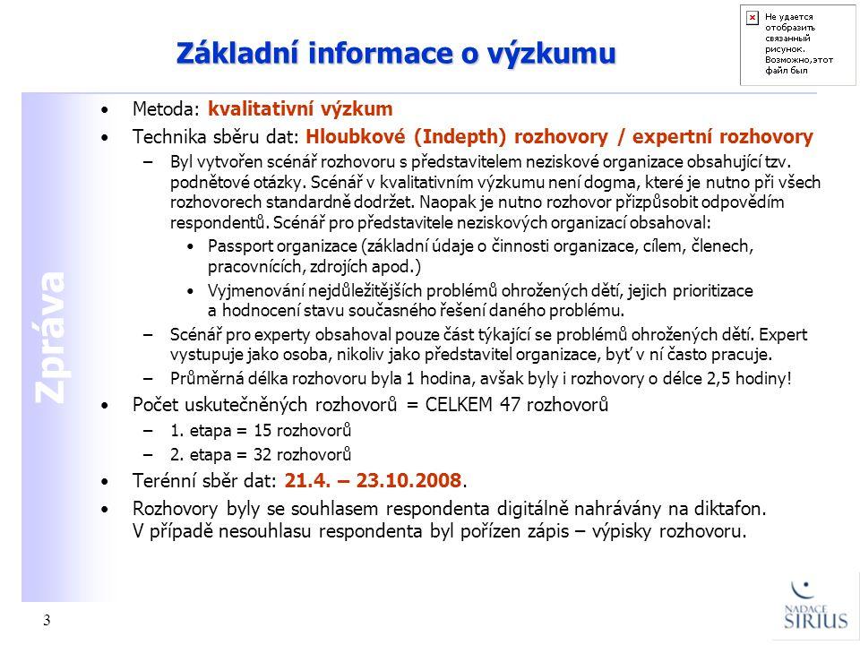 Zpráva 3 Základní informace o výzkumu •Metoda: kvalitativní výzkum •Technika sběru dat: Hloubkové (Indepth) rozhovory / expertní rozhovory –Byl vytvoř