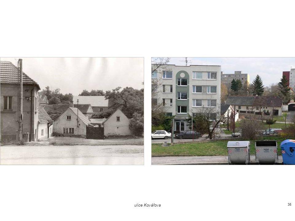 vlevo pošta / Kovářova 39, vpravo umělecká škola 34