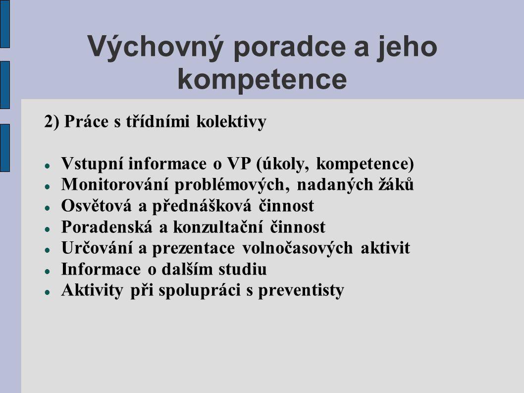 Výchovný poradce a jeho kompetence 2) Práce s třídními kolektivy  Vstupní informace o VP (úkoly, kompetence)  Monitorování problémových, nadaných žá