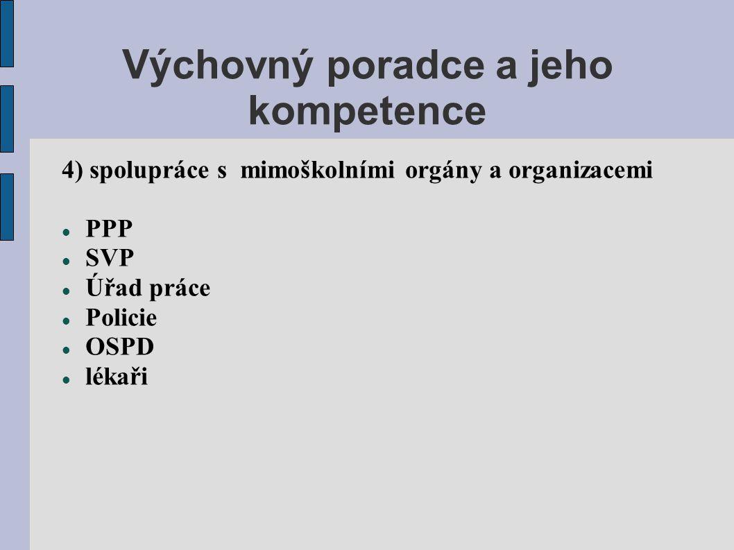Výchovný poradce a jeho kompetence 4) spolupráce s mimoškolními orgány a organizacemi  PPP  SVP  Úřad práce  Policie  OSPD  lékaři