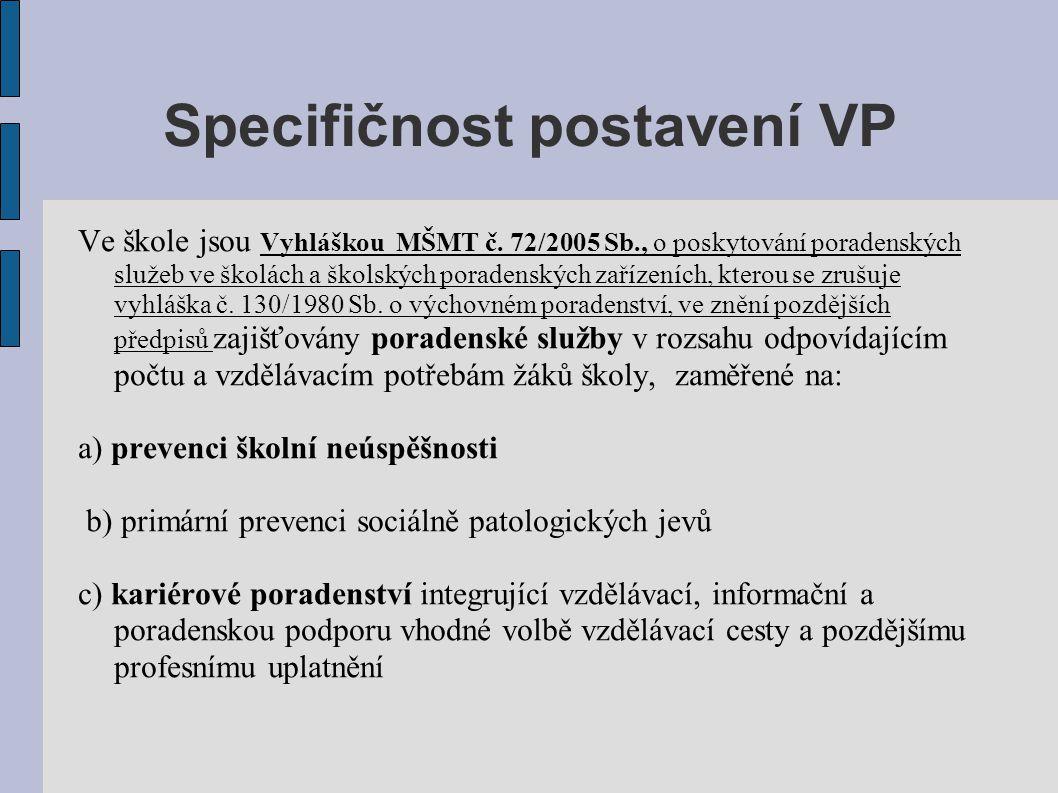 Specifičnost postavení VP Ve škole jsou Vyhláškou MŠMT č. 72/2005 Sb., o poskytování poradenských služeb ve školách a školských poradenských zařízeníc