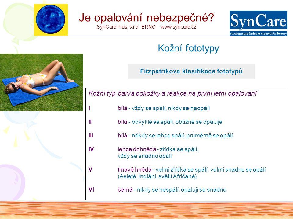 Tabulka stupňů ochrany SPF Je opalování nebezpečné? SynCare Plus, s.r.o. BRNO www.syncare.cz