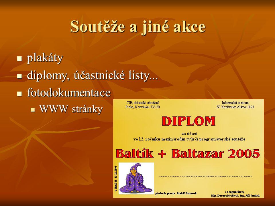 Soutěže a jiné akce  plakáty  diplomy, účastnické listy...  fotodokumentace  WWW stránky