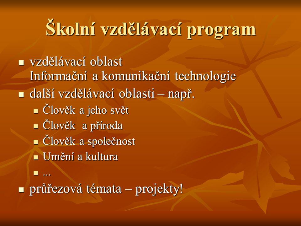 Školní vzdělávací program  vzdělávací oblast Informační a komunikační technologie  další vzdělávací oblasti – např.  Člověk a jeho svět  Člověk a