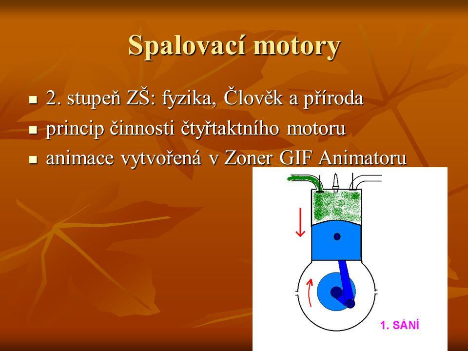 Spalovací motory  2. stupeň ZŠ: fyzika, Člověk a příroda  princip činnosti čtyřtaktního motoru  animace vytvořená v Zoner GIF Animatoru