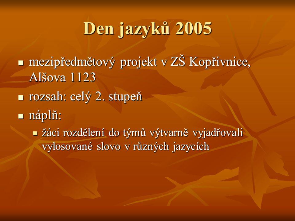 Den jazyků 2005  mezipředmětový projekt v ZŠ Kopřivnice, Alšova 1123  rozsah: celý 2. stupeň  náplň:  žáci rozdělení do týmů výtvarně vyjadřovali