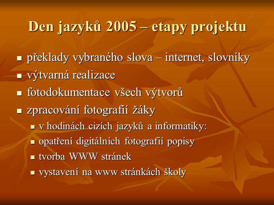 Den jazyků 2005 – etapy projektu  překlady vybraného slova – internet, slovníky  výtvarná realizace  fotodokumentace všech výtvorů  zpracování fot