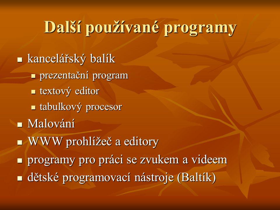 Další používané programy  kancelářský balík  prezentační program  textový editor  tabulkový procesor  Malování  WWW prohlížeč a editory  progra