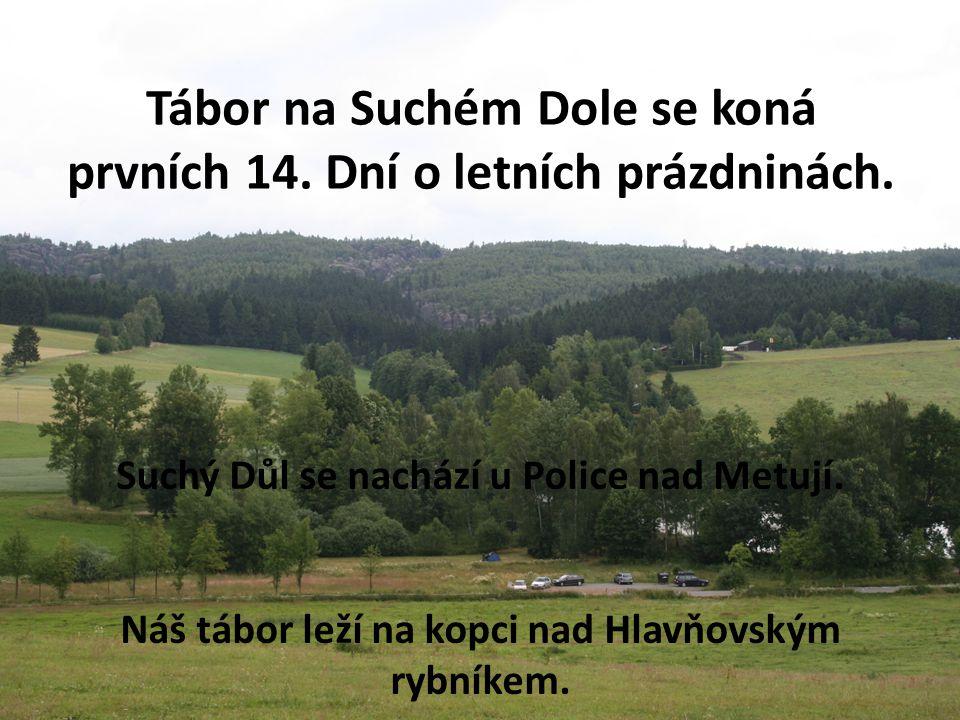 Tábor na Suchém Dole se koná prvních 14. Dní o letních prázdninách. Suchý Důl se nachází u Police nad Metují. Náš tábor leží na kopci nad Hlavňovským
