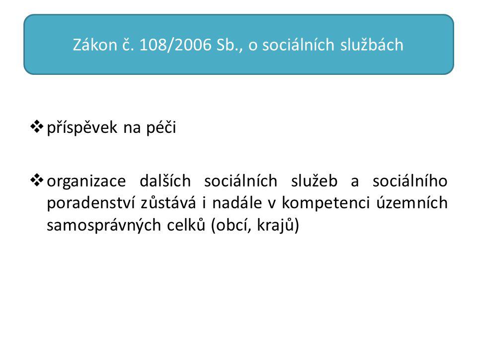 Zákon č. 108/2006 Sb., o sociálních službách  příspěvek na péči  organizace dalších sociálních služeb a sociálního poradenství zůstává i nadále v ko
