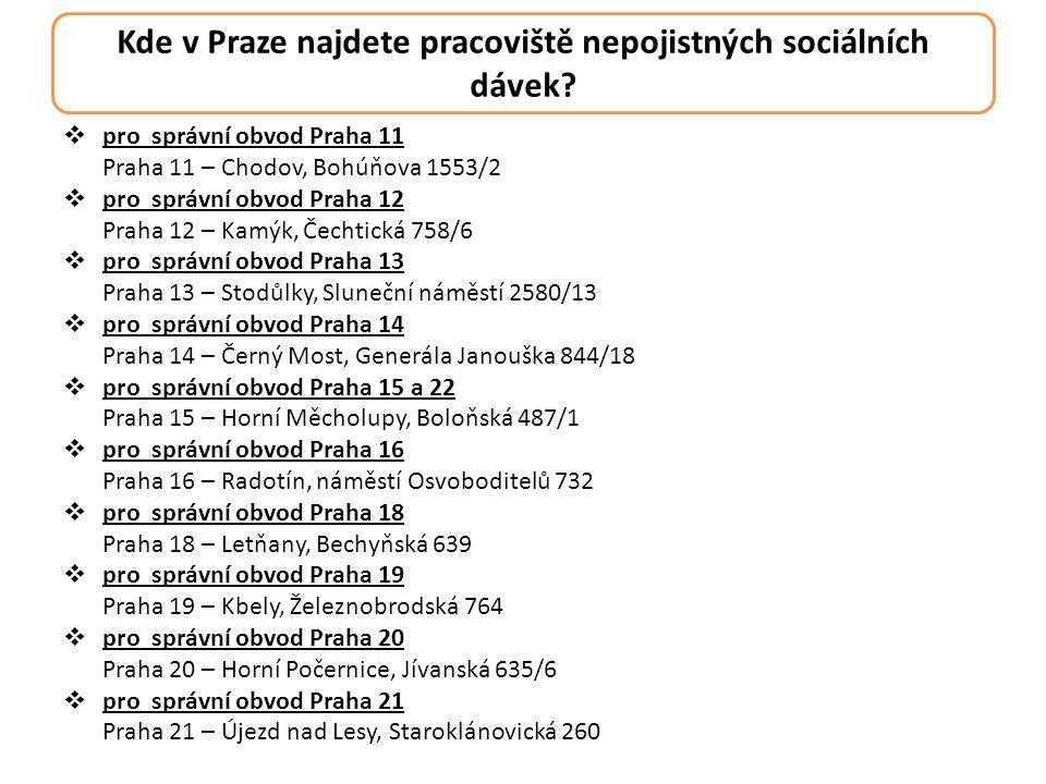Kde v Praze najdete pracoviště nepojistných sociálních dávek?  pro správní obvod Praha 11 Praha 11 – Chodov, Bohúňova 1553/2  pro správní obvod Prah
